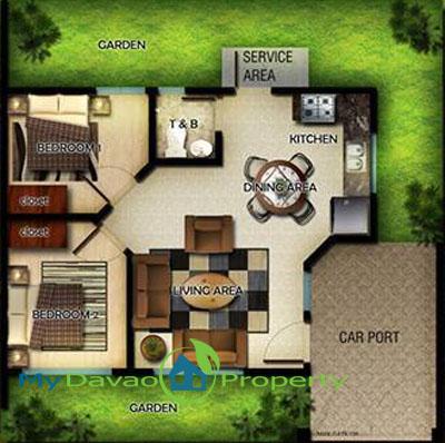 Oakridge Residential Estate Indangan, Mid Cost Housing, Bluebell Model House, Bungalow, Davao Property, Davao Properties, Davao Houses, Davao Subdivision, Real estate in Davao City, Davao City House and Lot, My Davao Property, mydavaoproperty.com, Floor Plan