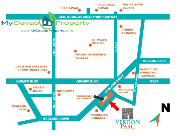 Davao Properties, Davao City Property, Davao Estate, Davao Condominiums, Davao Real Estate, Verdon Parc Davao, Realestateindavao.com, Ecoland Drive Matina, Davao City, Location Map