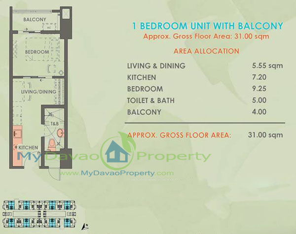 Davao Condominiums, Verdon Parc, Davao Properties, Davao city Property. Mydavaoproperty.com, Davao Estate, Davao properties, 1 Bedroom, Balcony