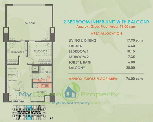 Davao Condominiums, Verdon Parc, Davao Properties, Davao city Property. Mydavaoproperty.com, Davao Estate, Davao properties, 2 Bedroom, Balcony