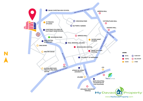Legacy Leisure Residences, Davao Condominium, Maa Road, Davao City, MyDavaoProperty, My Davao Property, Mixed-Use Condominium, Vicinity Map