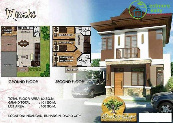 Oakridge Residential Estate Indangan, Mid Cost Housing, Misaki Model House, 2 Storey, Davao Property, Davao Properties, Davao Houses, Davao Subdivision, Real estate in Davao City, Davao City House and Lot, My Davao Property, mydavaoproperty.com
