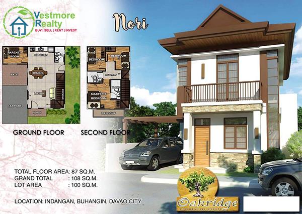 Oakridge Residential Estate Indangan, Mid Cost Housing, Nori Model House, 2 Storey, Davao Property, Davao Properties, Davao Houses, Davao Subdivision, Real estate in Davao City, Davao City House and Lot, My Davao Property, mydavaoproperty.com