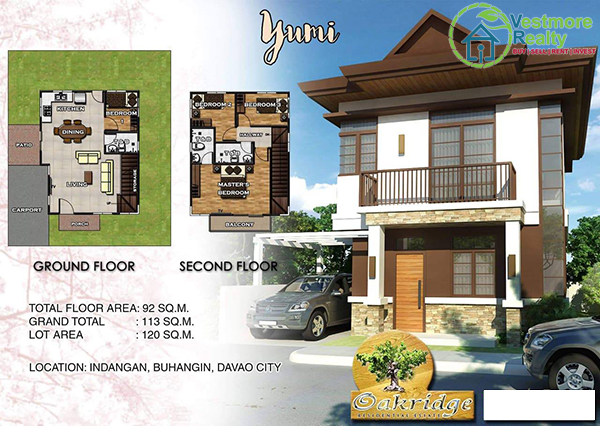 Oakridge Residential Estate Indangan, Mid Cost Housing, Yumi Model House, 2 Storey, Davao Property, Davao Properties, Davao Houses, Davao Subdivision, Real estate in Davao City, Davao City House and Lot, My Davao Property, mydavaoproperty.com